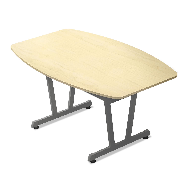 Admirable Trento Line Conference Table 59 1 8W X 39 1 2D X 29 1 2H Oatmeal Metallic Gray Creativecarmelina Interior Chair Design Creativecarmelinacom