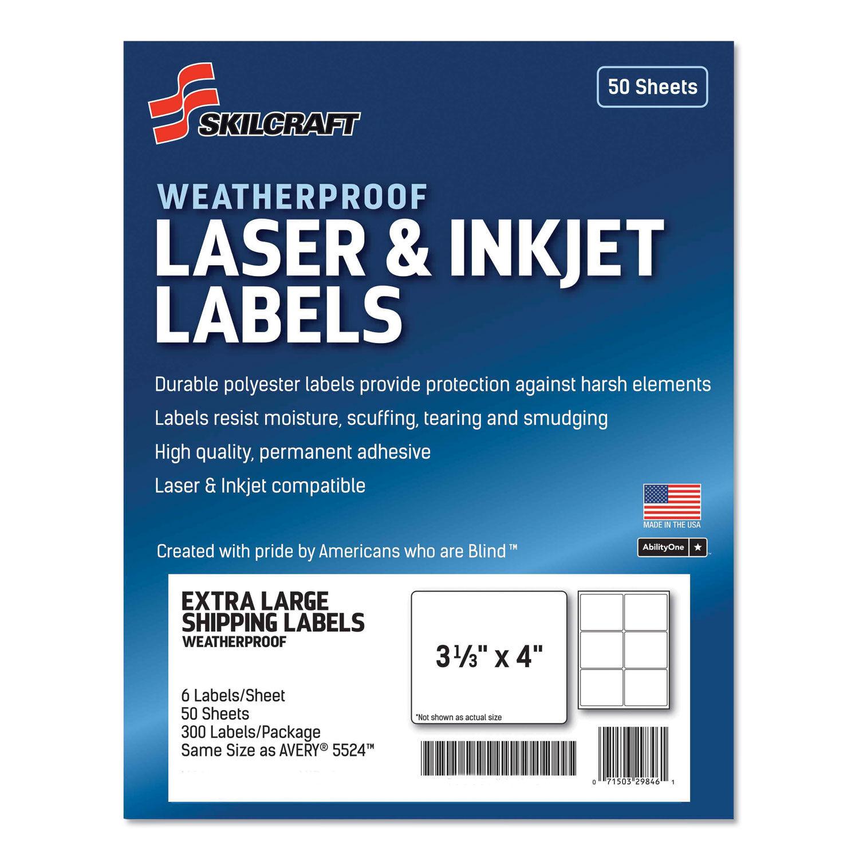 SKILCRAFT Weatherproof Mailing Labels, 300 Labels, GSA 7530-01-673-621