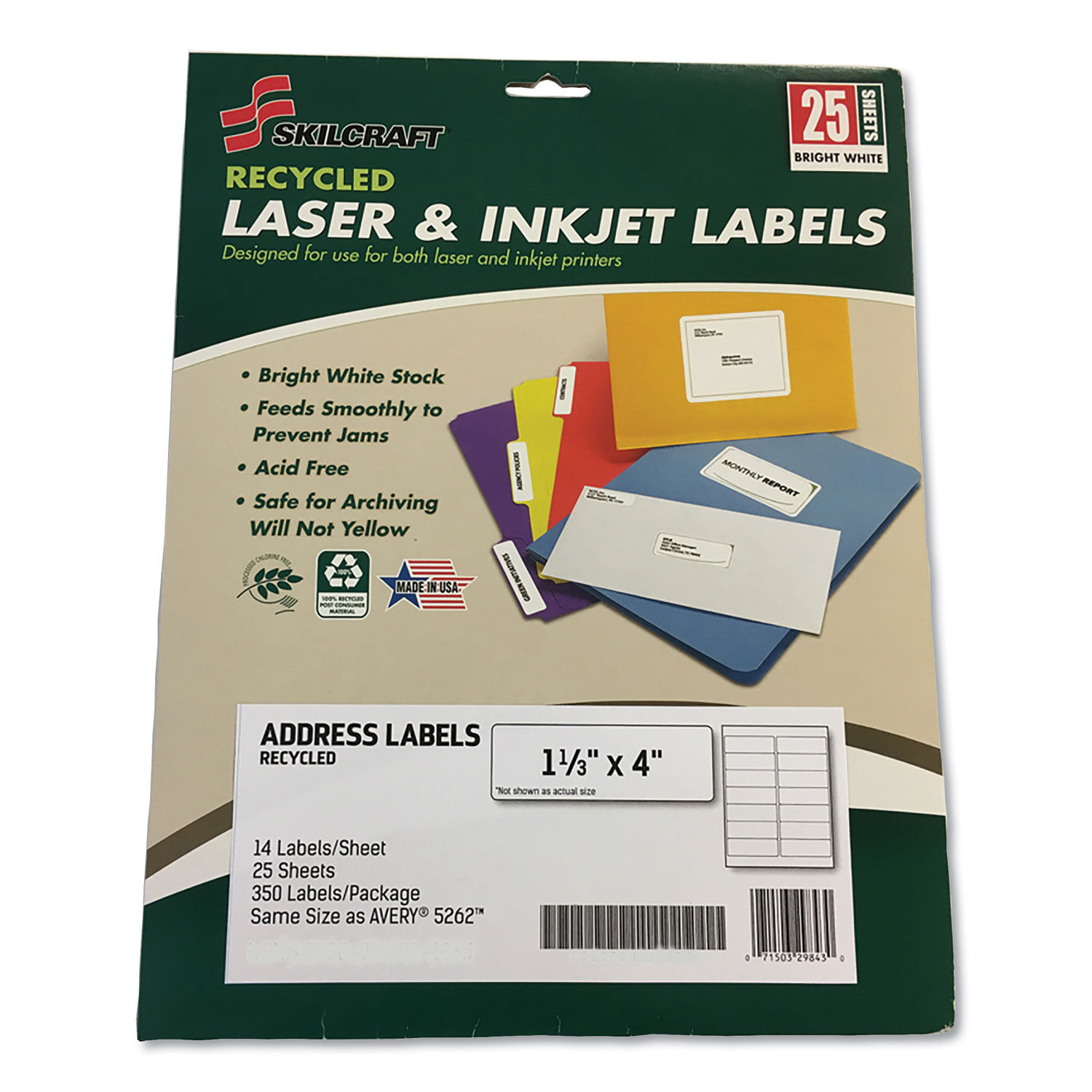 SKILCRAFT Recycled Laser and Inkjet Label, 350 Labels, GSA 7530-01-673-651