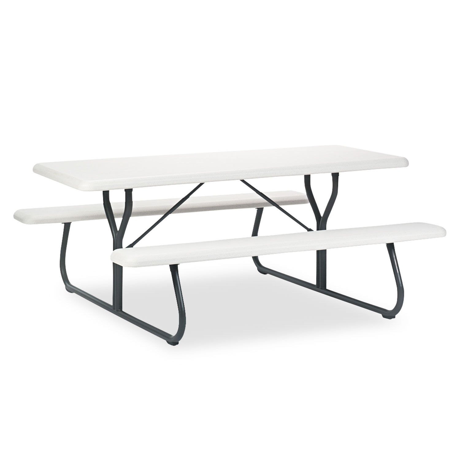 Superb Indestructables Too 1200 Series Resin Picnic Table 72W X 30D Platinum Gray Onthecornerstone Fun Painted Chair Ideas Images Onthecornerstoneorg