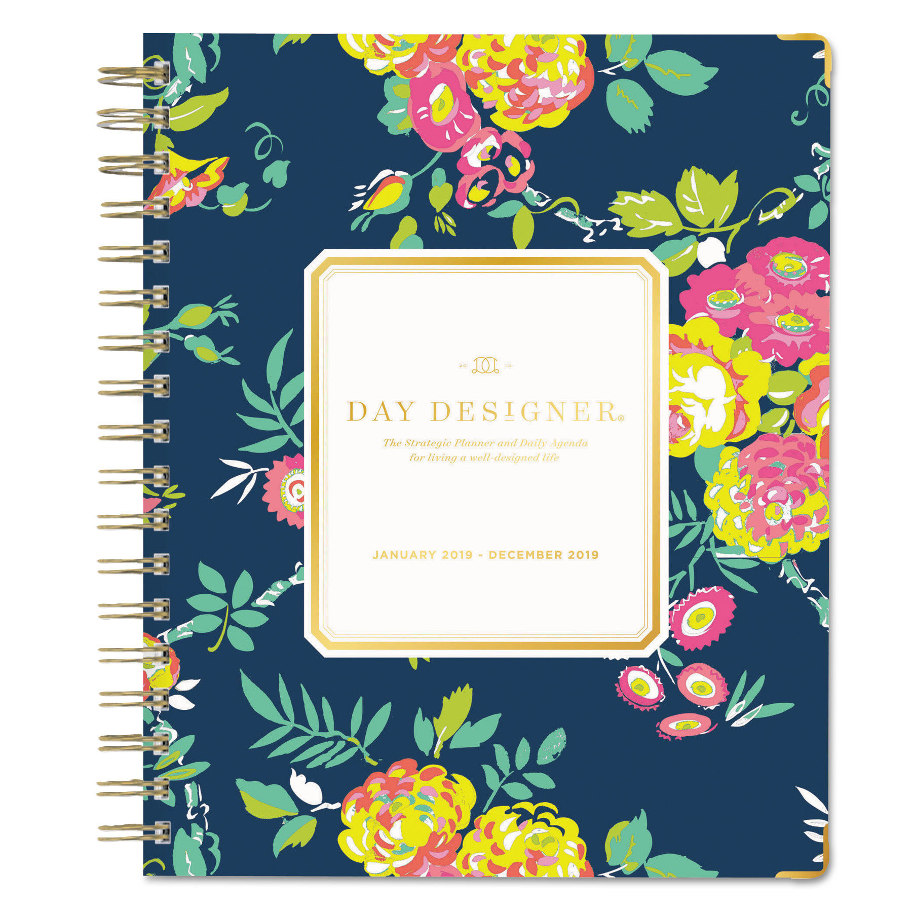 photo relating to Day Designer Planner named Working day Designer Gold Corner Weekly/Month to month Planner, 9 x 7, Army/Floral, 2019