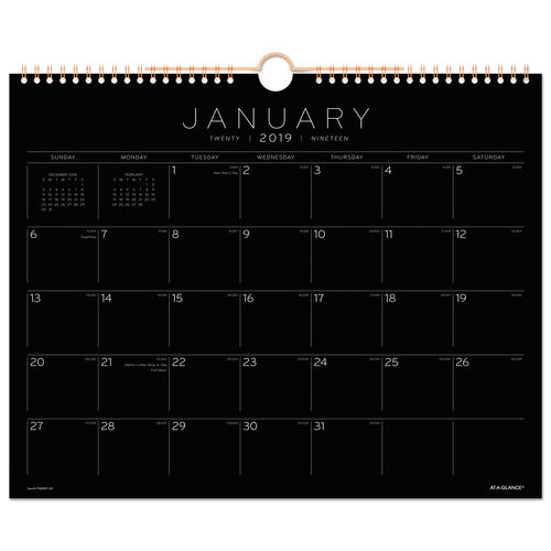 Black Paper Wall Calendar 15 X 12 2019