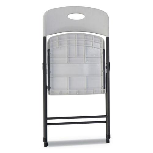 Astonishing Molded Resin Folding Chair White Seat White Back Dark Gray Base 4 Carton Theyellowbook Wood Chair Design Ideas Theyellowbookinfo