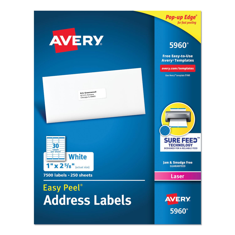 "Office Depot Inkjet//Laser Address Labels White 3,000-Box 1/"" x 2 5//8/"""