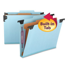 SMD65105 - Hanging Pressboard Classification Folders with SafeSHIELDCoated Fasteners, Letter Size, 1 Divider, Blue