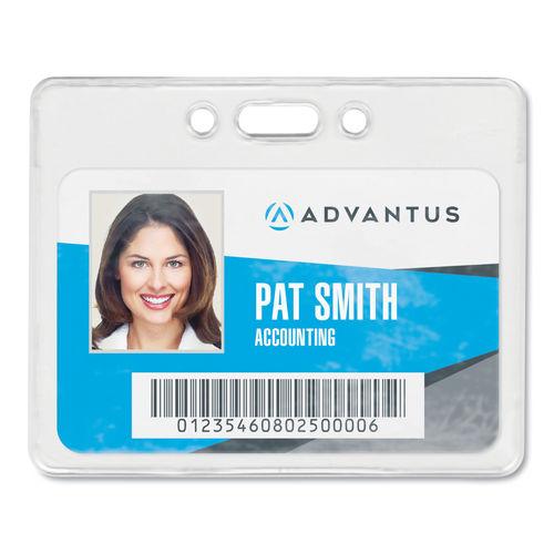 4897a792ac96 Proximity ID Badge Holder, Horizontal, 3 3/8w x 2 3/8h, Clear, 50/Pack
