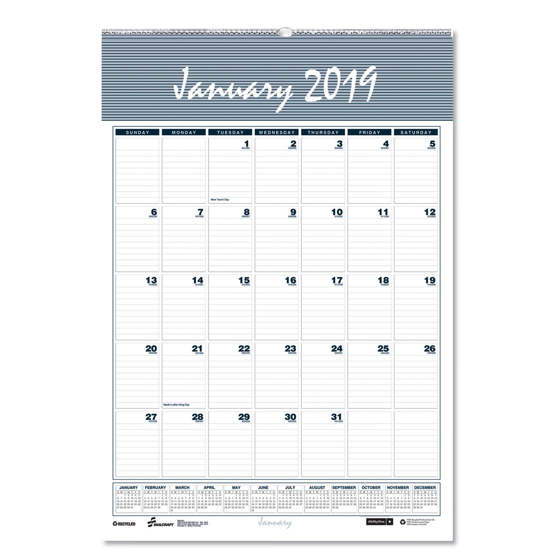 Gsa Calendar 2020 Monthly Wall Calendar by AbilityOne® NSN6007571   OnTimeSupplies.com