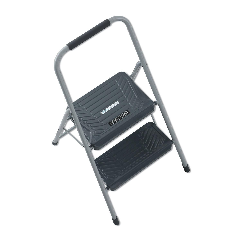 Astounding Black And Decker Steel Step Stool Two Step 200 Lb Cap Gray Machost Co Dining Chair Design Ideas Machostcouk