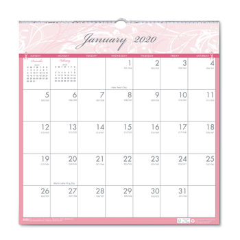 Monthly Awareness Calendar 2020 Recycled Breast Cancer Awareness Monthly Wall Calendar by House of
