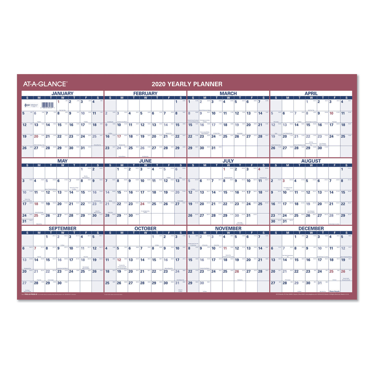 Erasable Vertical Horizontal Wall Planner By At A Glance
