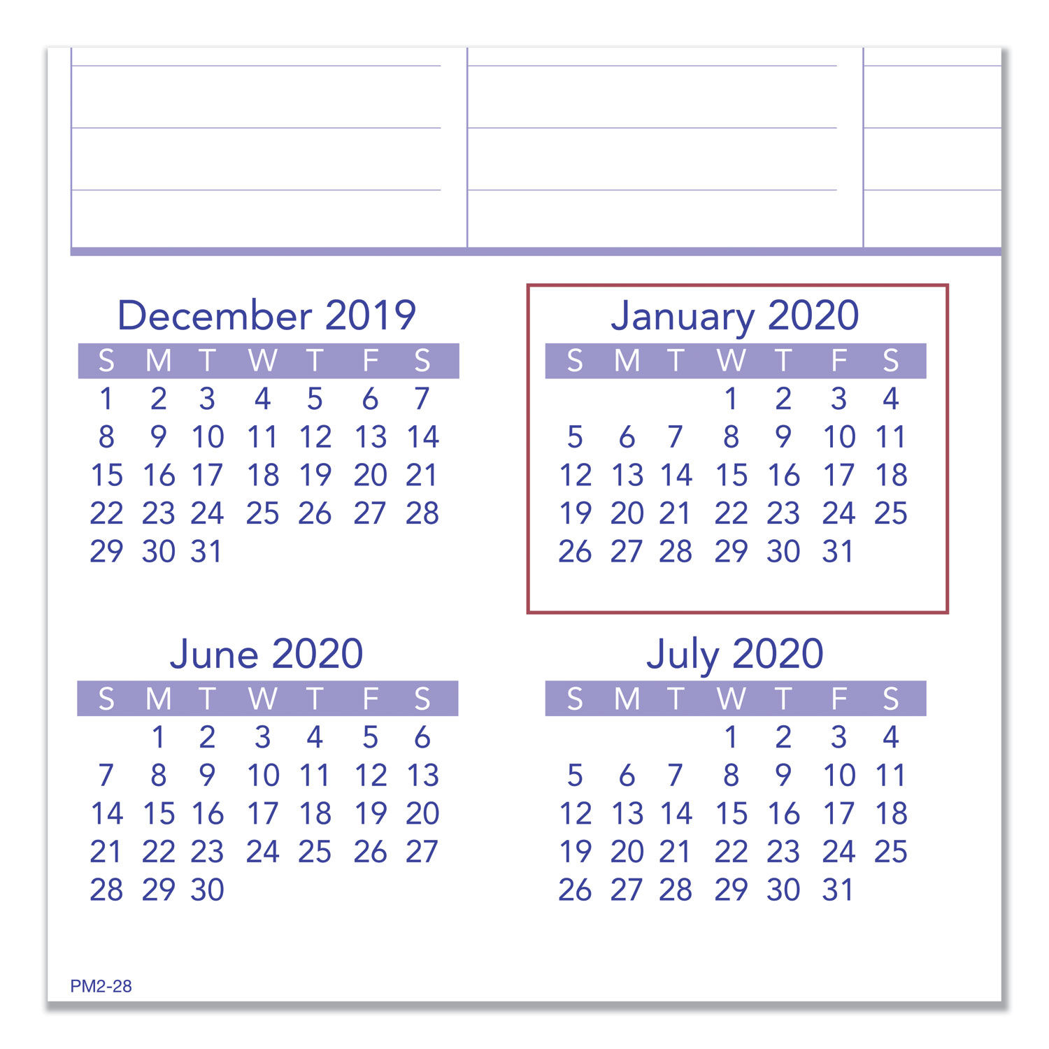 Calendar December 2019 January 2020.Monthly Wall Calendar With Ruled Daily Blocks 20 X 30 White 2020