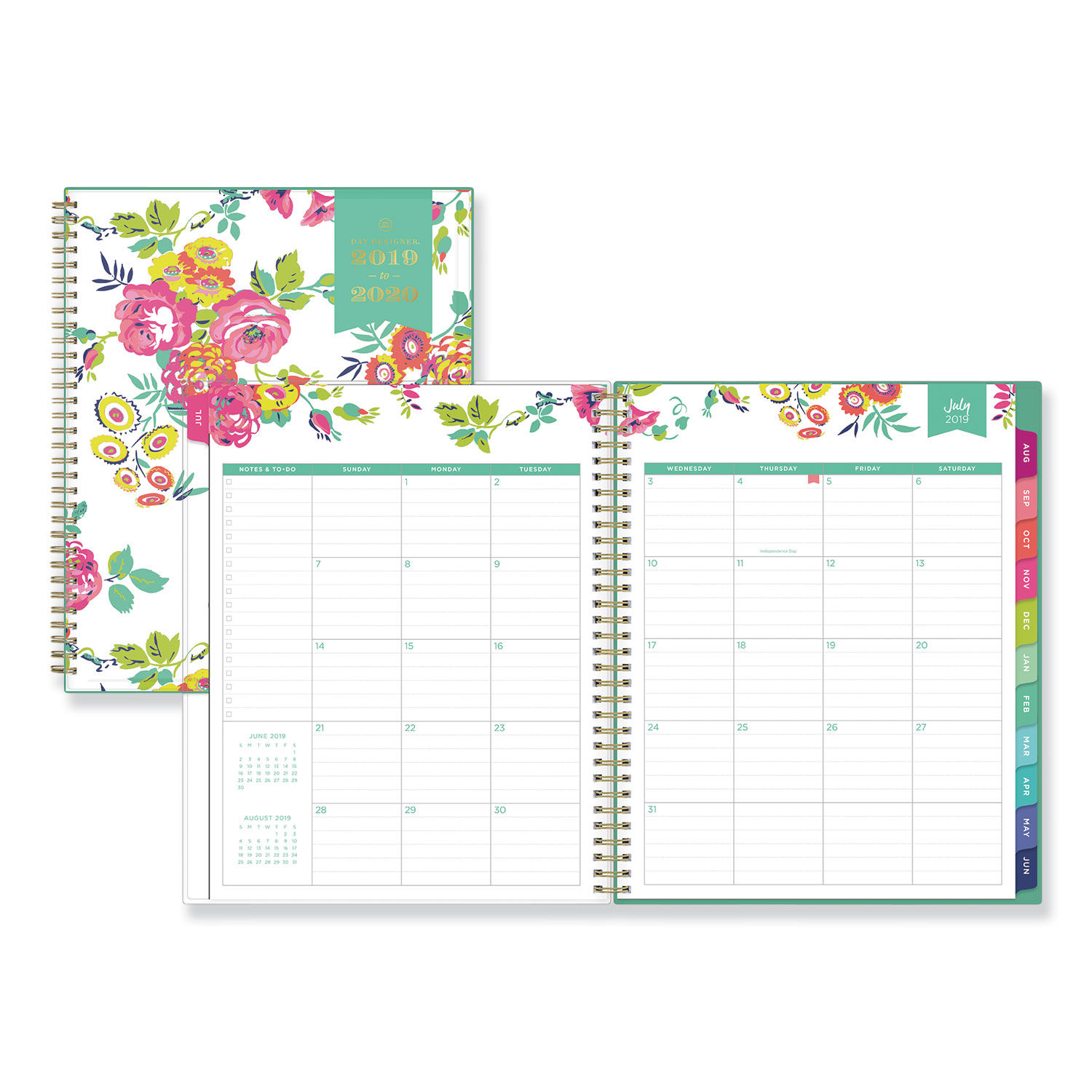 photograph about Day Designer Planners named Working day Designer Instructional Yr CYO Weekly/Regular Planner, 11 x 8 1/2, White/Floral, 2019-2020