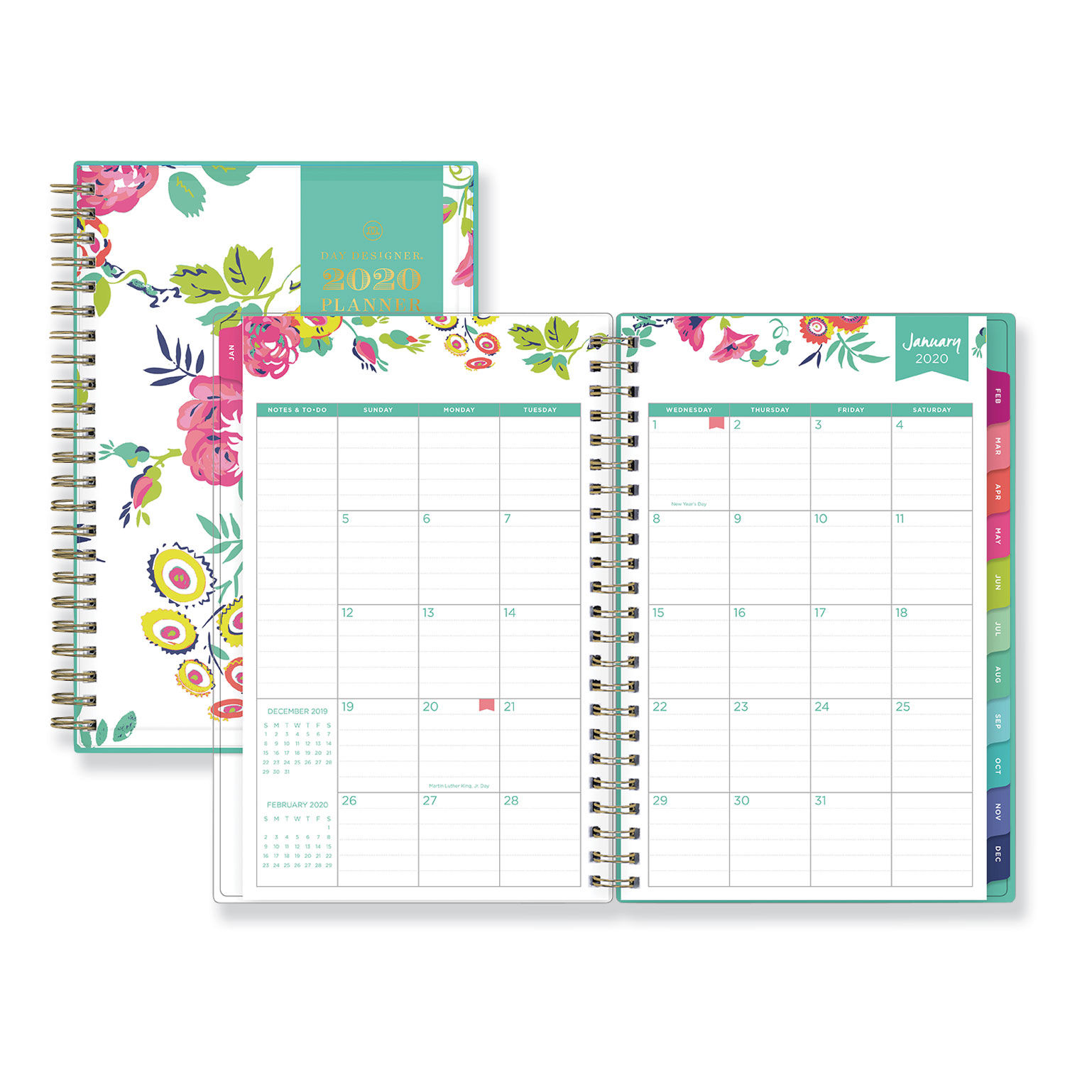 photograph about Day Designer Planner known as Working day Designer CYO Weekly/Every month Planner, 8 x 5, White/Floral, 2020