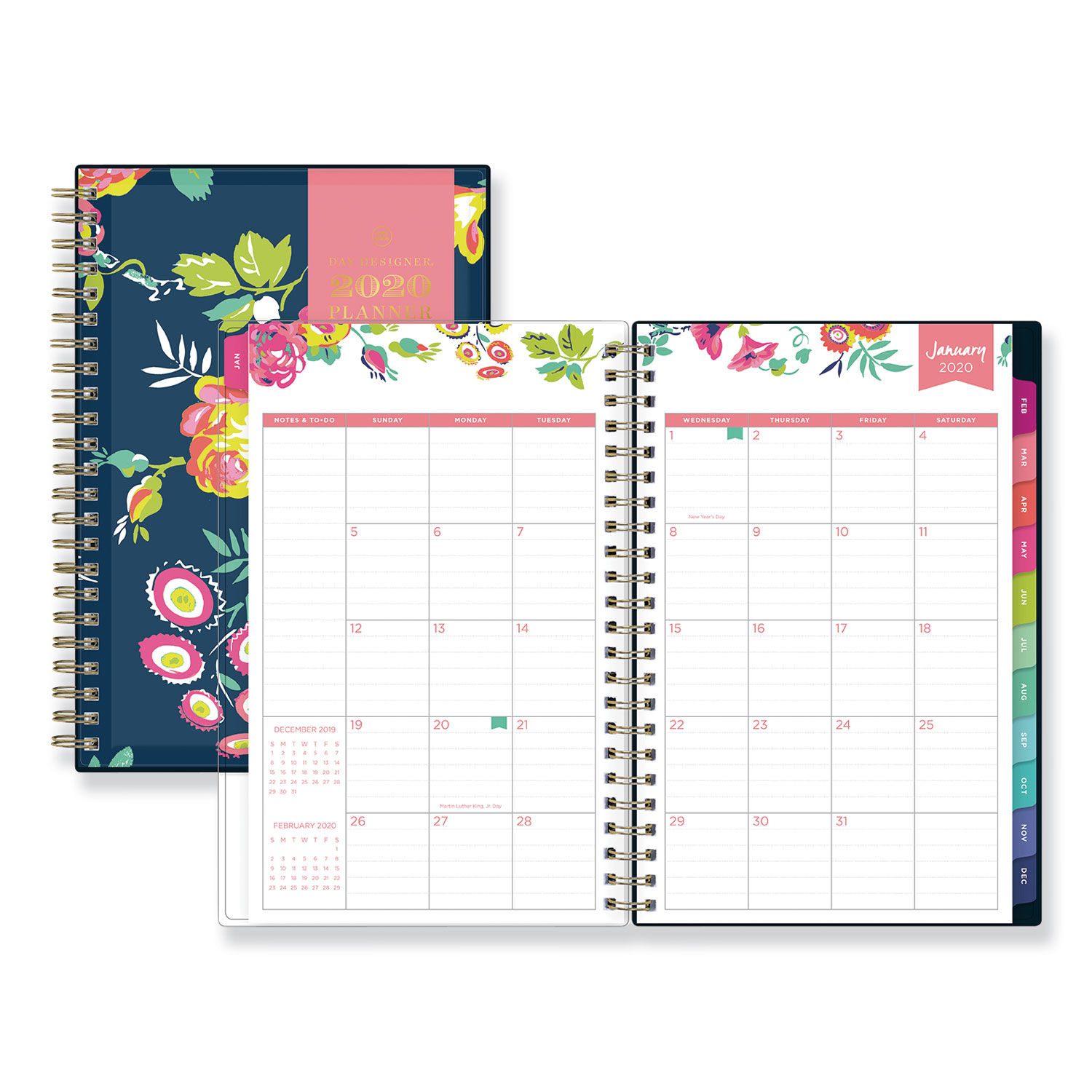 graphic relating to Day Designer Whitney English called Working day Designer CYO Weekly/Regular Planner, 8 x 5, Armed service/Floral, 2020