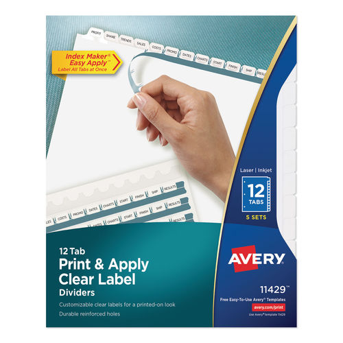 Print And Apply Index Maker Clear Label Dividers 12 White Tabs Letter 5 Sets