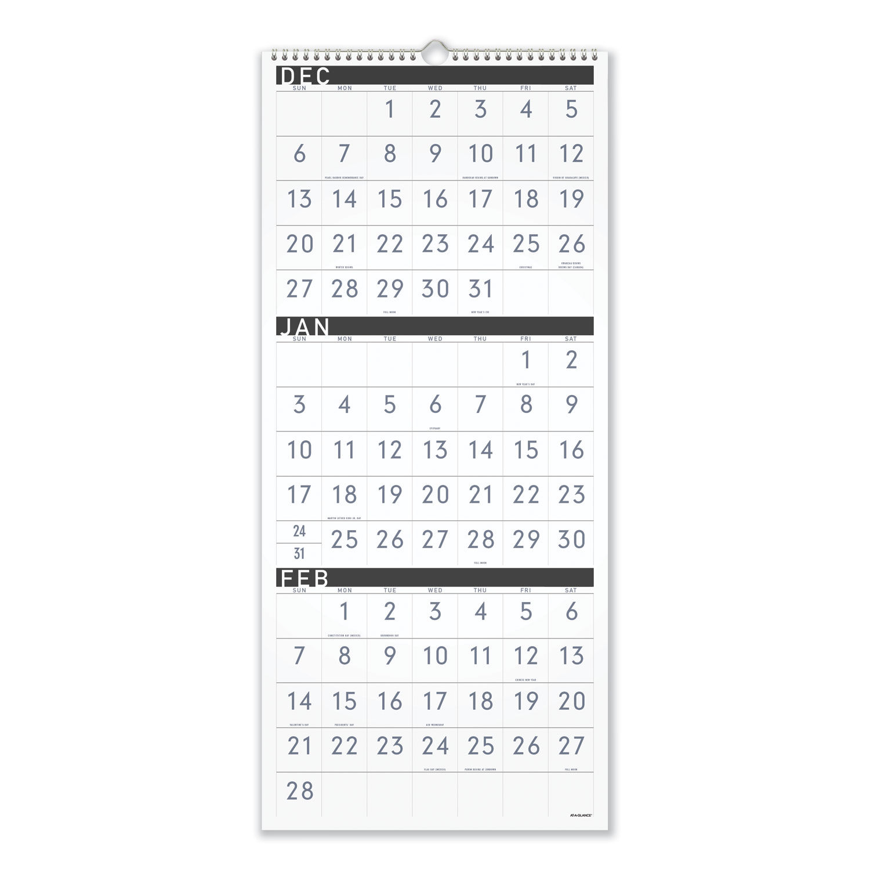 At A Glance Wall Calendar 2022.Contemporary Three Monthly Reference Wall Calendar By At A Glance Aagpm11x28 Ontimesupplies Com