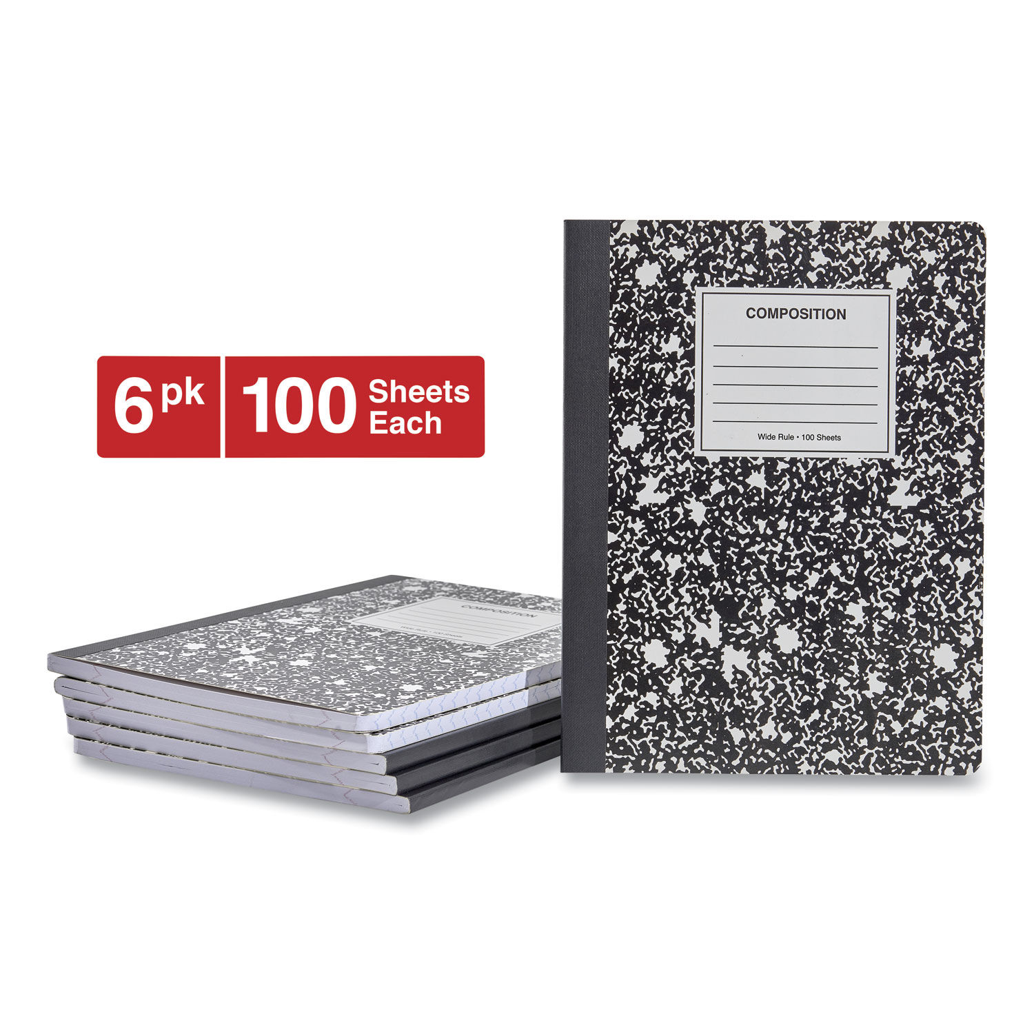 Wide Ruled Black Marble Composition Notebook 100 Sheet 6-Pack