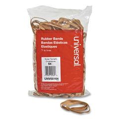 "UNV00164 - Rubber Bands, Size 64, 0.04"" Gauge, Beige, 1 lb Box, 320/Pack"