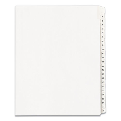 Letter Avery-Style Legal Exhibit Side Tab Divider White 25//Pack Title: 29