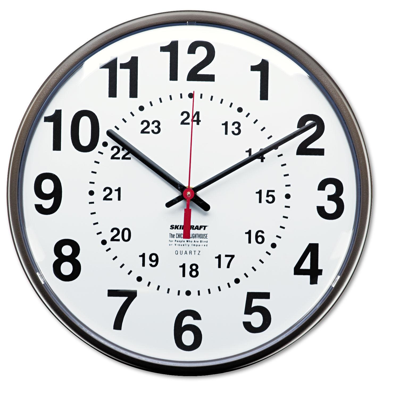 12/24 Hour Slimline Quartz Wall Clock, 12 75