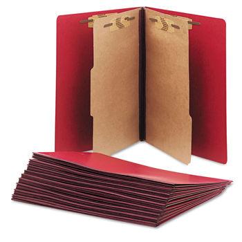 Pressboard Top Tab Classification Folder, 2 Dividers, Letter Size, Dark  Red, 10/Box, GSA 753001556791