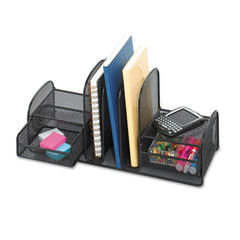 Safco® Onyx™ Mesh Desk Organizer with Three Vertical Sections/Two Baskets Thumbnail