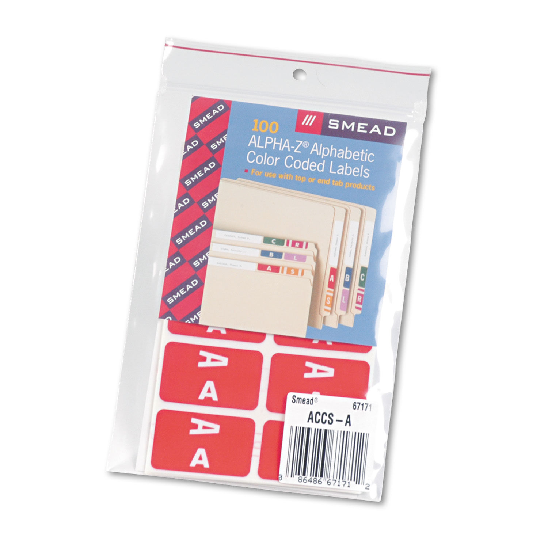 Alpha-Z Color-Coded Second Letter Labels, Letter A, Red, 100/Pack