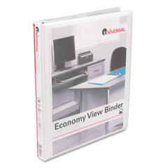 "Round Ring Economy Vinyl View Binder, 1/2"" Capacity, White"
