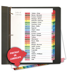 Universal A-Z Index Dividers