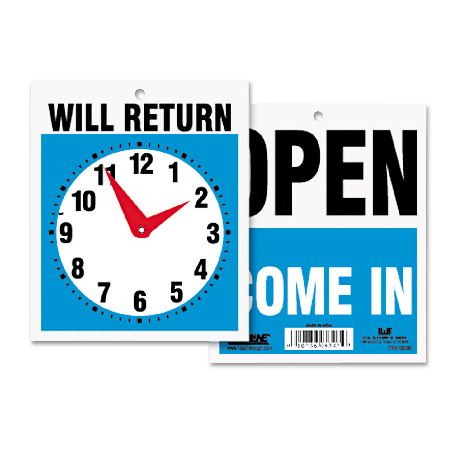 7-1//2 x Headline Sign Double-Sided Open//Will Return Sign w//Clock Hands Plastic