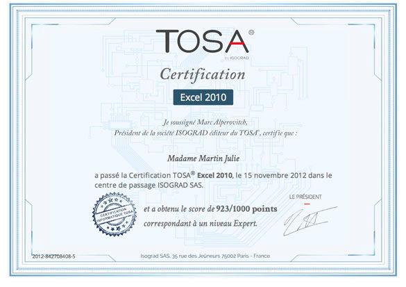 Diplôme TOSA par Isograd
