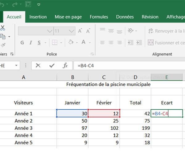 Réaliser des calculs simples sous Excel - Chapitre 2 : Les soustractions