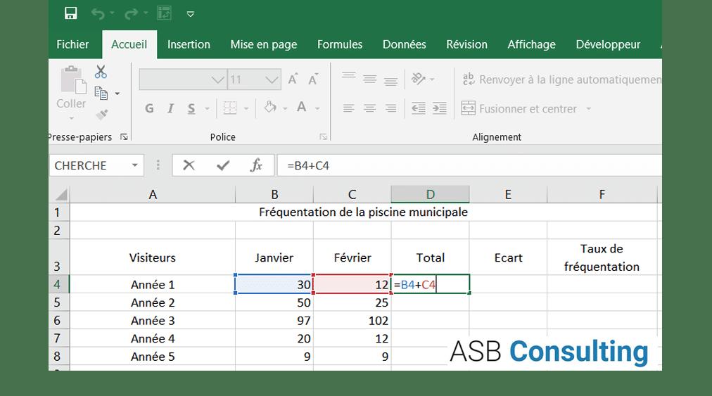 Réaliser des calculs simples sous Excel - Chapitre 1 : Les additions