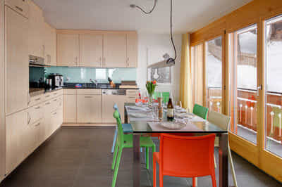 kitchen with table for 8 people