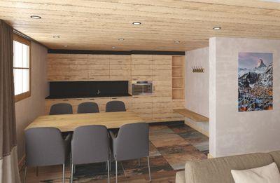 Küche und Tisch für Mahlzeiten _ NevadaPrimeApartmentsZermatt
