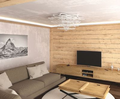 Salon with TV and sofas_NevadaPrimeApartmentsZermatt