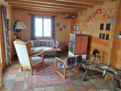 Sitzecke Wohnzimmer mit Kaminofen