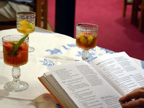 An event with hymns and Pimms