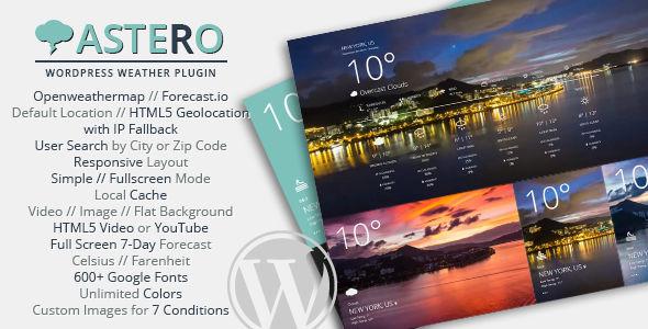 Astero WordPress Weather Plugin v2.0.1
