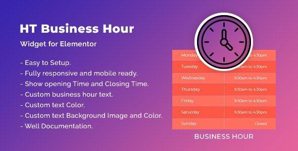 HT Business Hour Widget for Elementor v1.0.1
