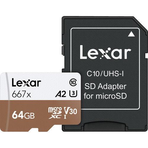 Lexar Professional 64GB 667x UHS-I microSD Memory Card (100MB/s) + SD Adaptor