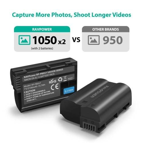 RAVPower Rechargeable Camera Battery & Charger for Nikon EN-EL15