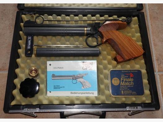 Matchpistole Walther CP2 + 2 Kartuschen + CO2 Flasche + Koffer + 2500 Muni