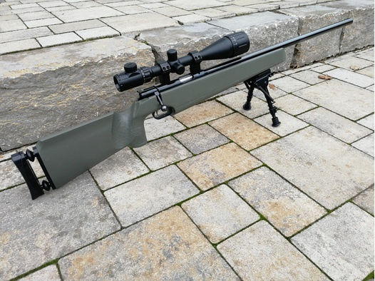 Anschütz Modell Match 54  .22lr .22lfB KK-Gewehr Büchse Wettkampf *Sniper* mit 6-24x50 Optik Zielfernrohr (Diopter + Korntunnel) Kleinkaliber Zweibein Einzellader Army green  *TOP*