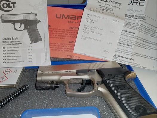 COLT Double Eagle vernickelt 9mm Schreckschuss Komplettes Paket wie neu