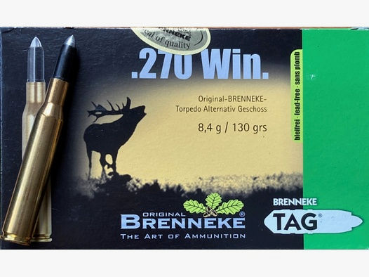 24 Stück Brenneke .270 Win. TAG  -Torpedo Alternativ Geschoss 8,4g/130grs-