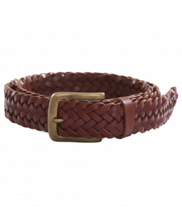 Tan Plaited Leather Belt