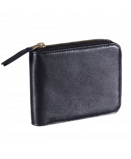 Black Leather Zip Wallet