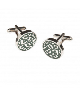 Dark Green And Silver Cufflinks