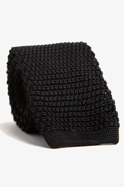 Black Silk Knit Tie